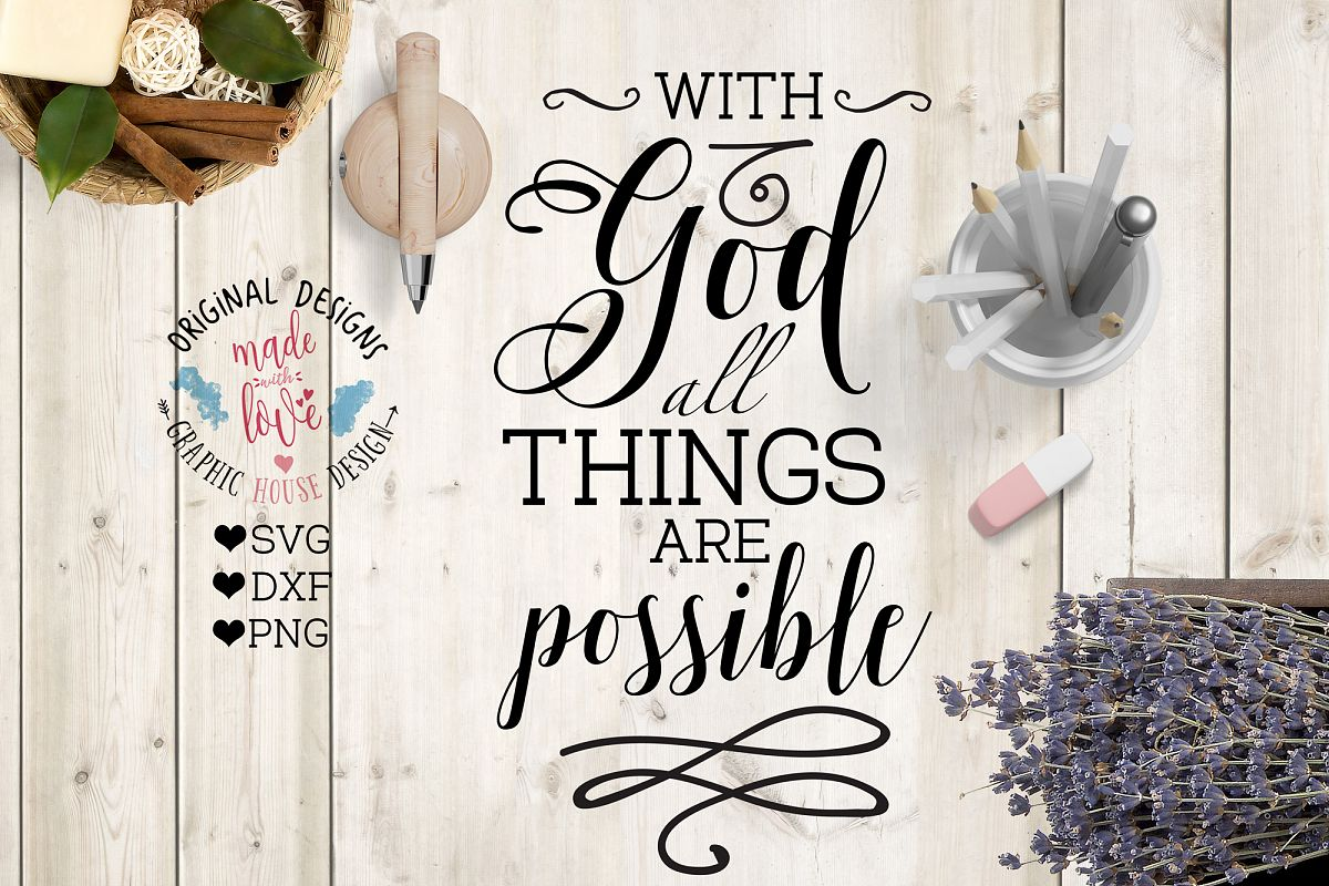 With God All Things are Possible Cutting File example image 1
