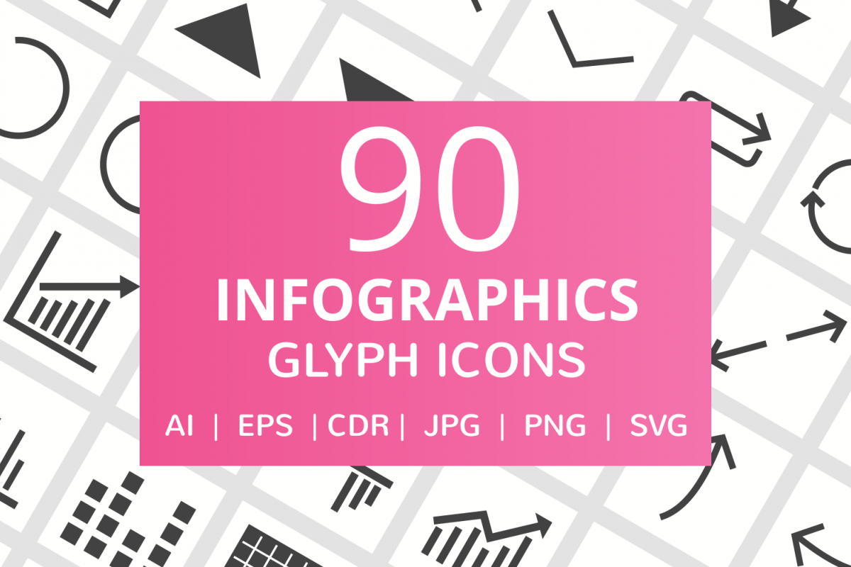 90 Infographics Glyph Icons example image 1