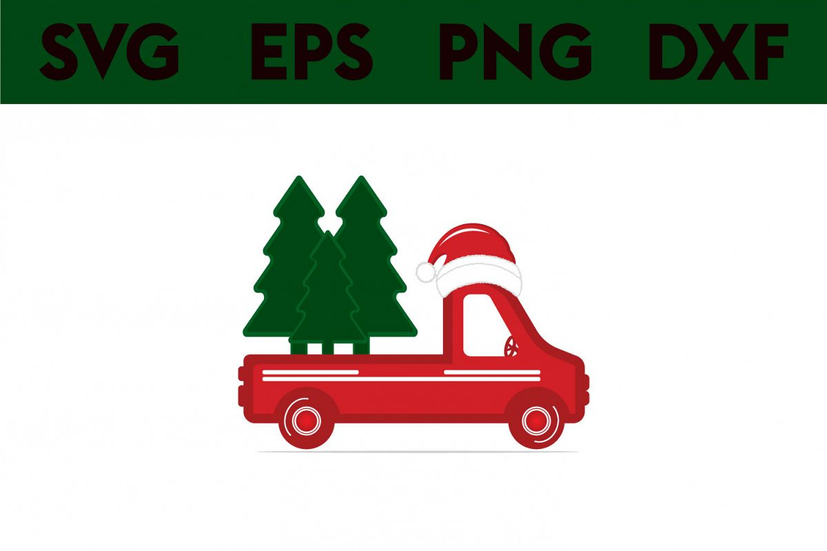 Christmas truck back with tree svg, dxf, pdf, jpeg, png file example image 1