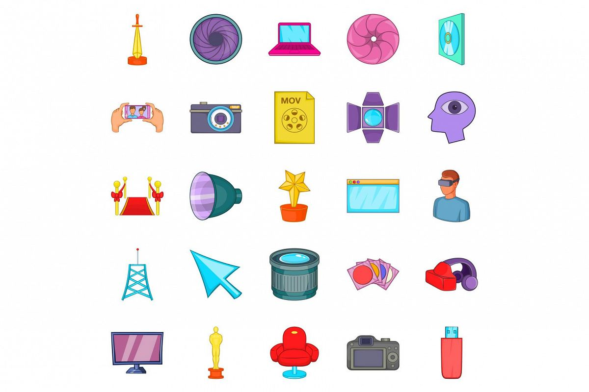 Camera for movies icons set, cartoon style example image 1