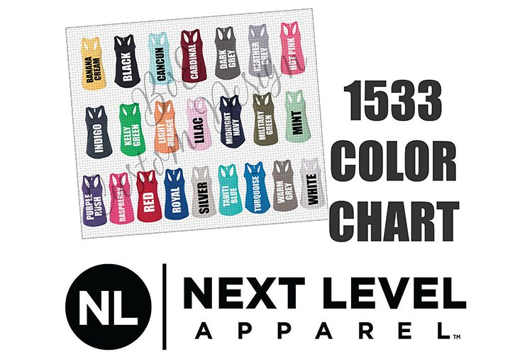 Next Level 1533 Racerback Tank Top Color Chart example image 1