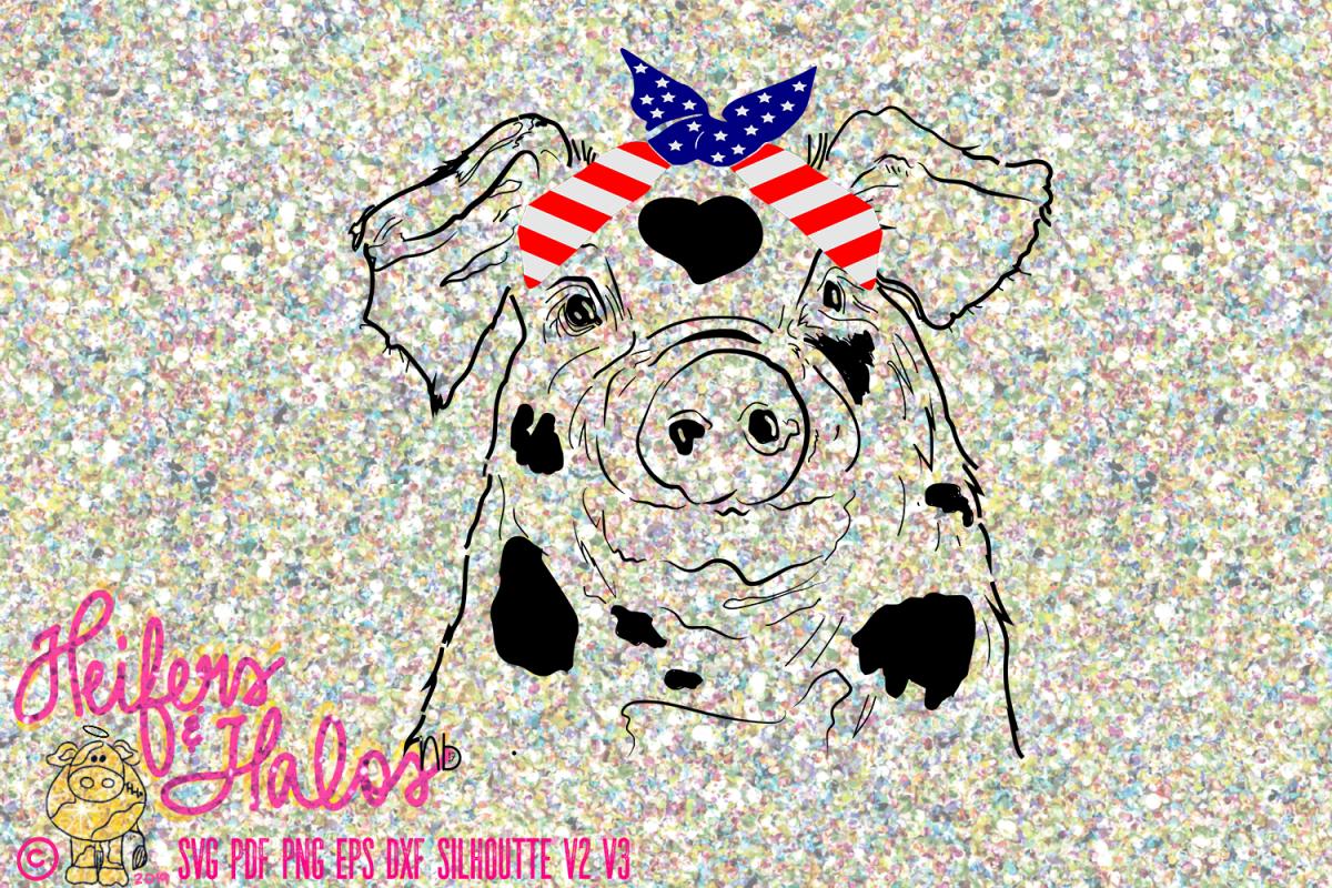 Pig with Flag Bandana Hand Drawn Digital Design example image 1