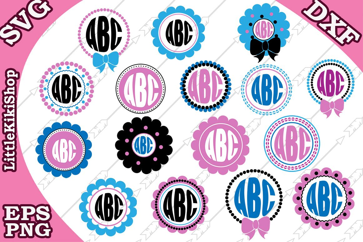 Circle Monogram Frame Svg,Monogram Bundle Svg,Bow and Pearls example image 1