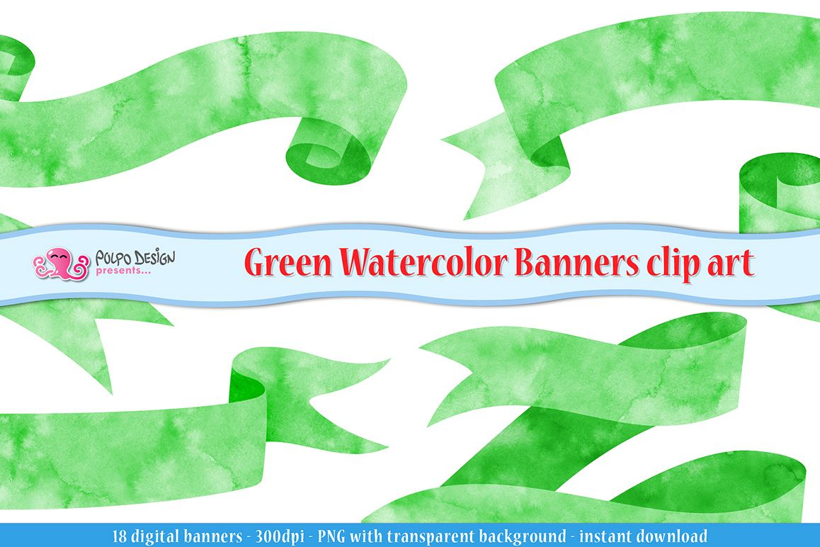 Green Watercolor Banner clip art example image 1