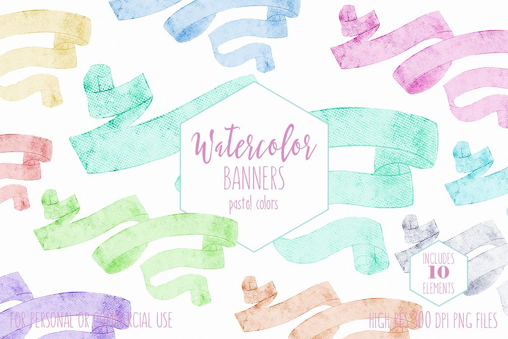 Pastel Watercolor Ribbon Banners Vintage Flowing Text Banners