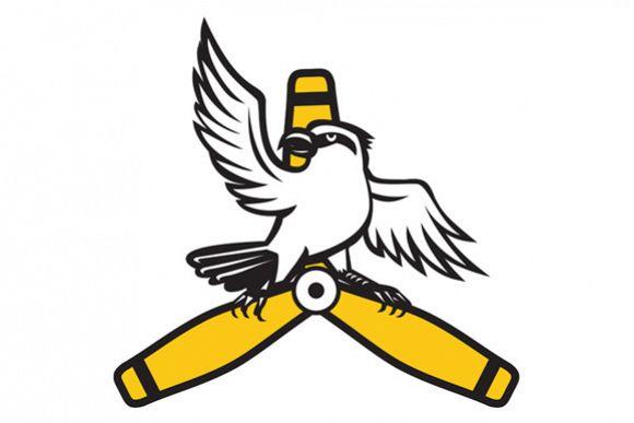 Shrike Perching Propeller Blade Retro example image 1