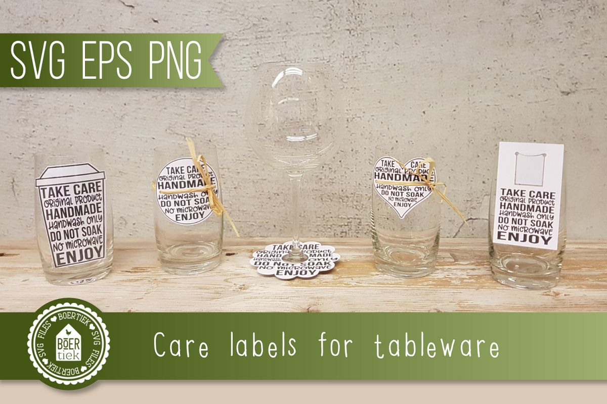 Care labels for tableware made with decal, etc. Print & Cut. example image 1