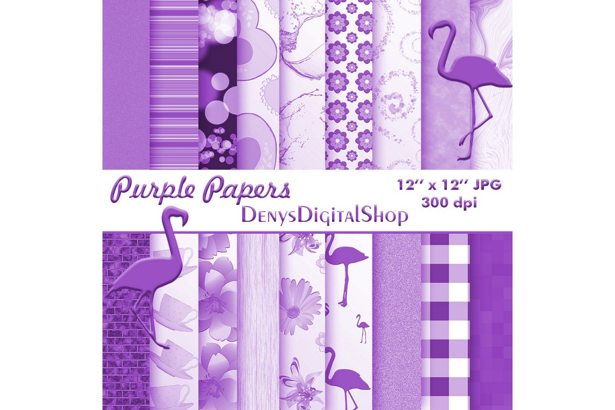 Purple Digital Paper, Purple Paper Flowers, Purple Pack, off example image 1