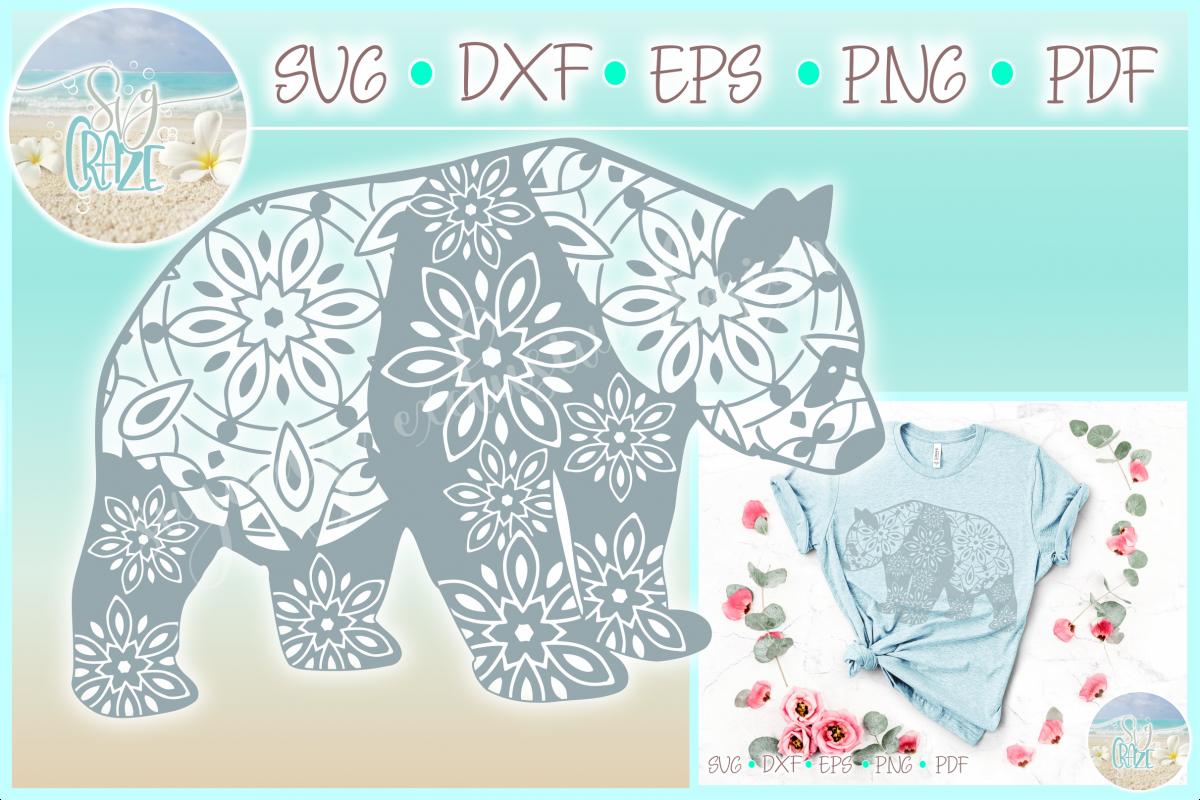 Panda Mandala ZentangleSVG Dxf Eps Png PDF files for Cricut example image 1