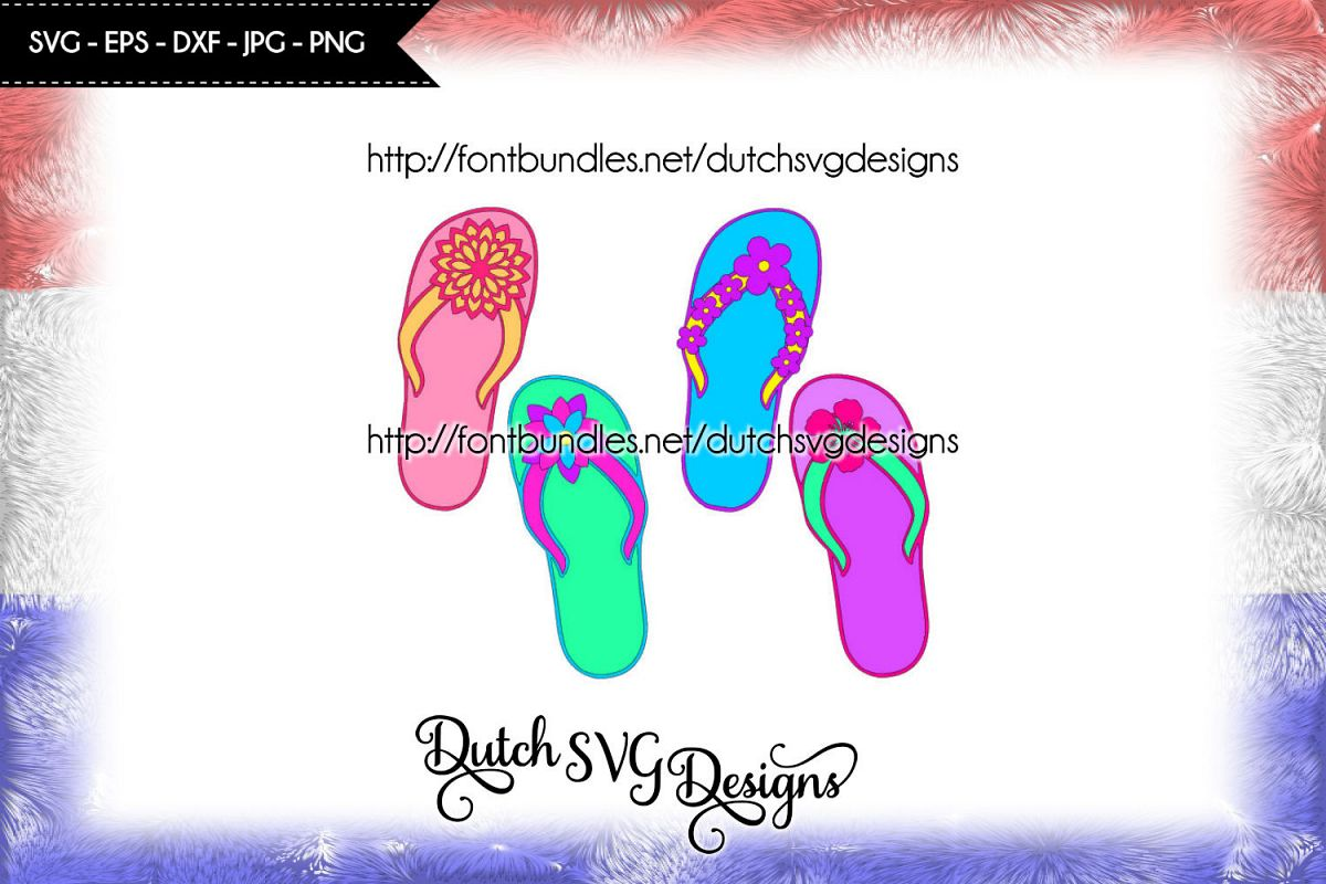 Flip flop cutting file with 4 different flower decorations, flip flop svg example image 1