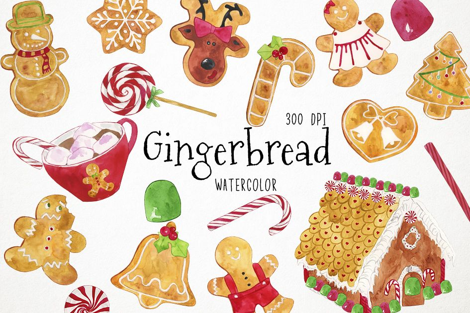 Christmas Cookies Clipart, Christmas Clipart, Gingerbread Cl example image 1