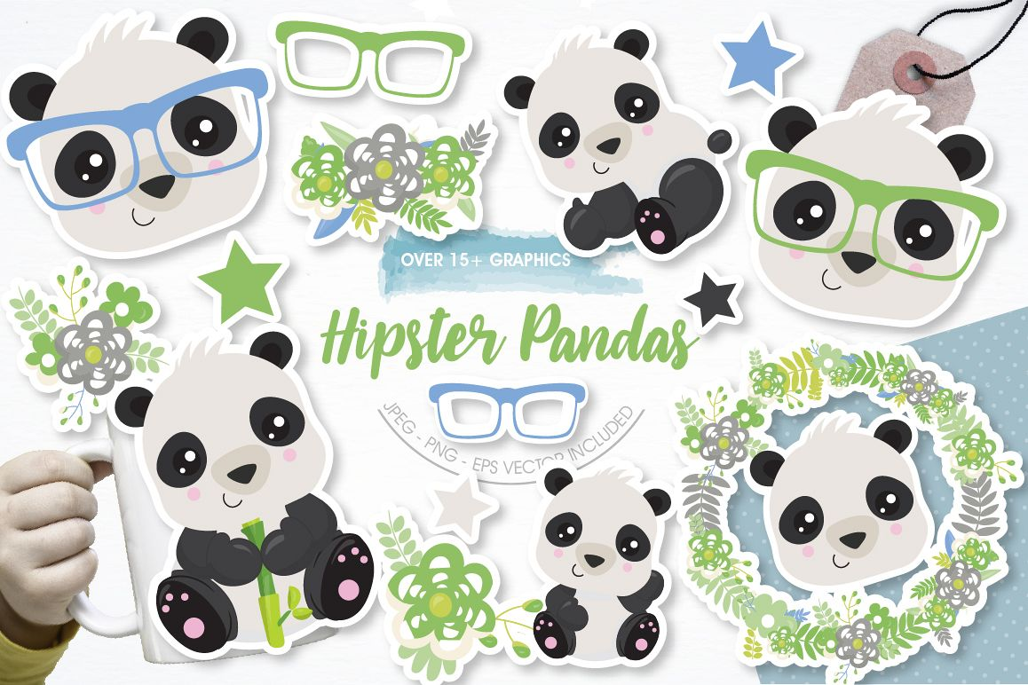 Hipster Pandas graphics and illustrations example image 1
