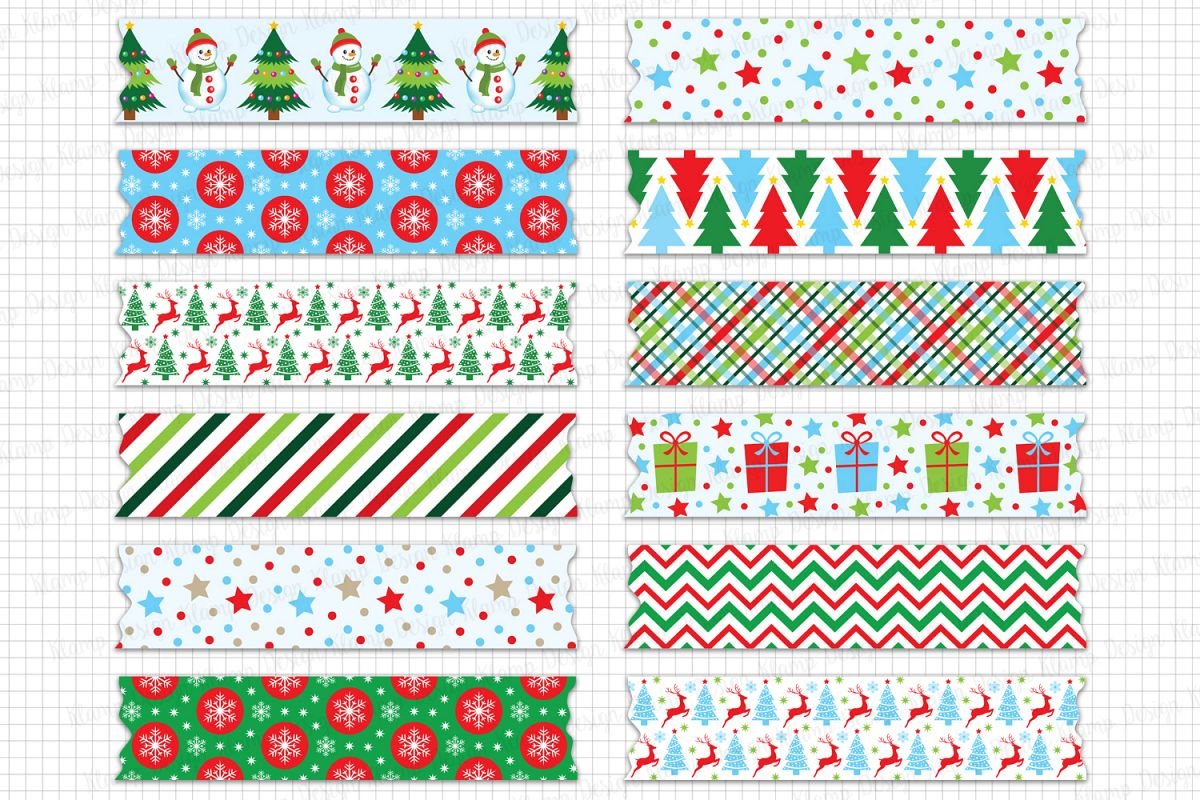 Christmas Washi Tape Clipart, Christmas Graphic and Illustrations, Scrapbooking, Card Making, Christmas Decorations example image 1