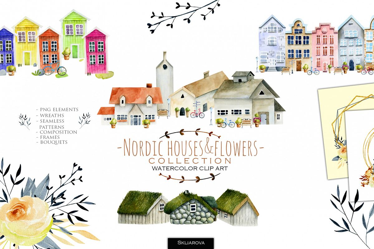 Nordic houses & flowers. example image 1