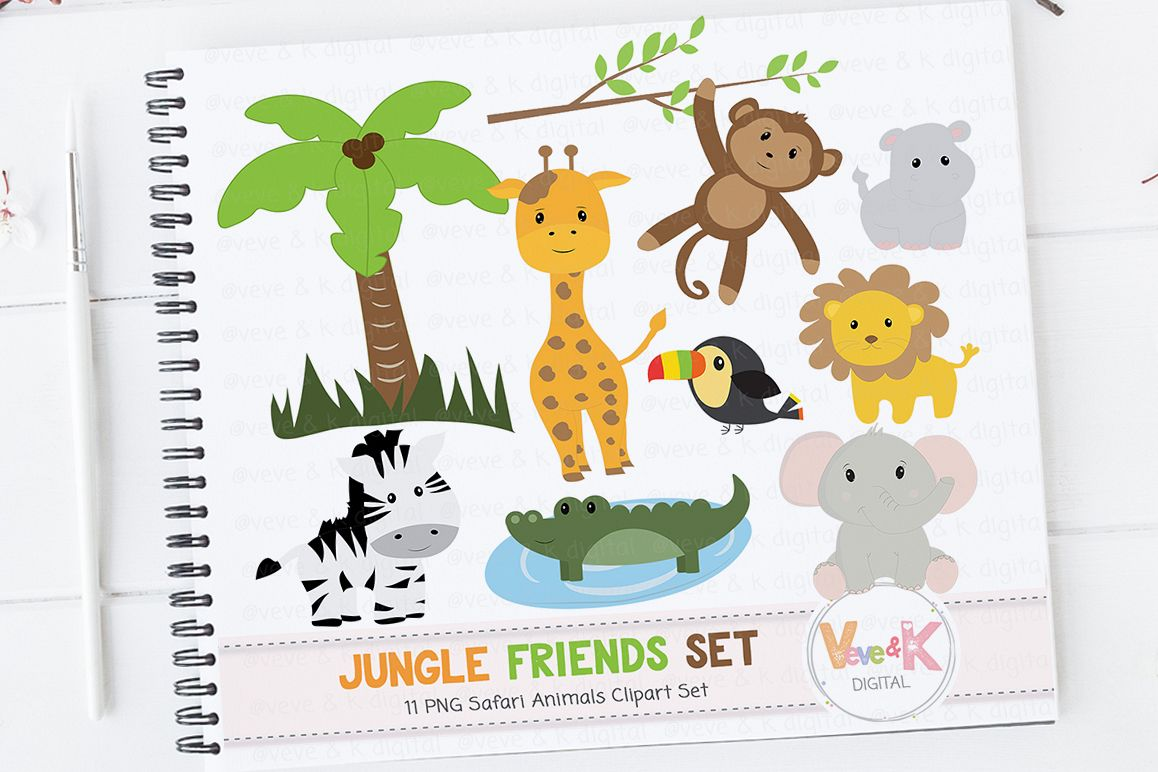 safari jungle animals clip art african animals clipart jungle rh designbundles net baby animals clip art free baby animals clip art free
