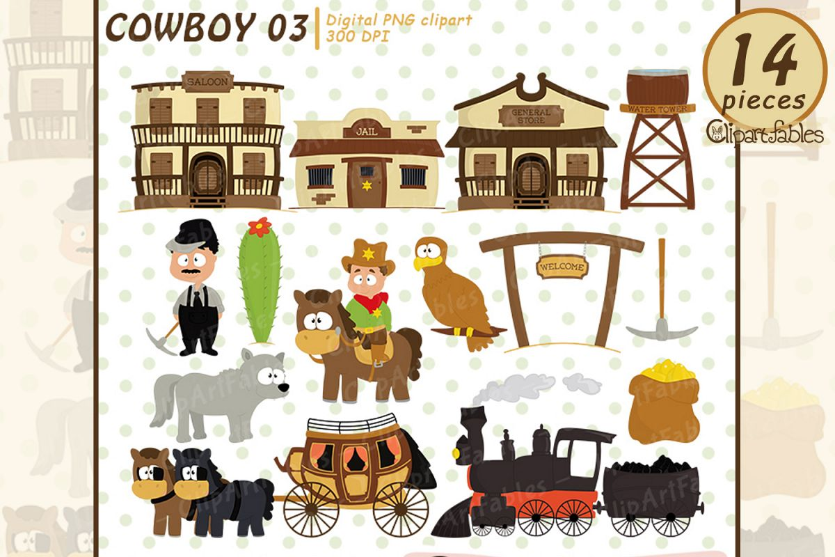 Wild west clipart, cute western city clip art example image 1