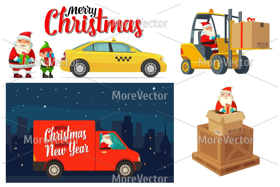 Logistic Santa Claus and elf with a gift. Forklift van taxi example image 1