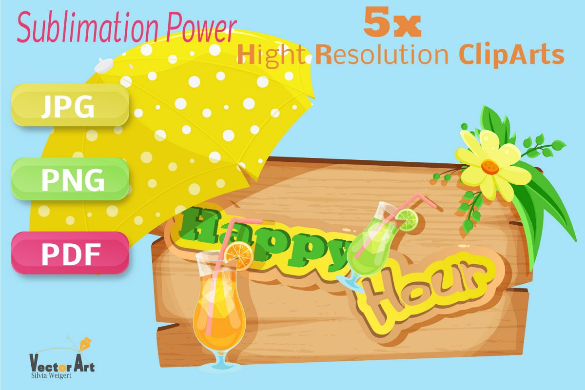Happy Hour - Craft Bundle for Sublimation and Scrapbooking example image 1