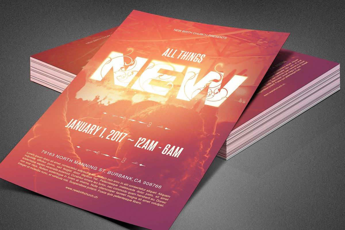 All Things New Church Flyer Template example image 1