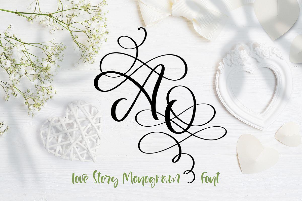 Love Story Monogram Font example image 1