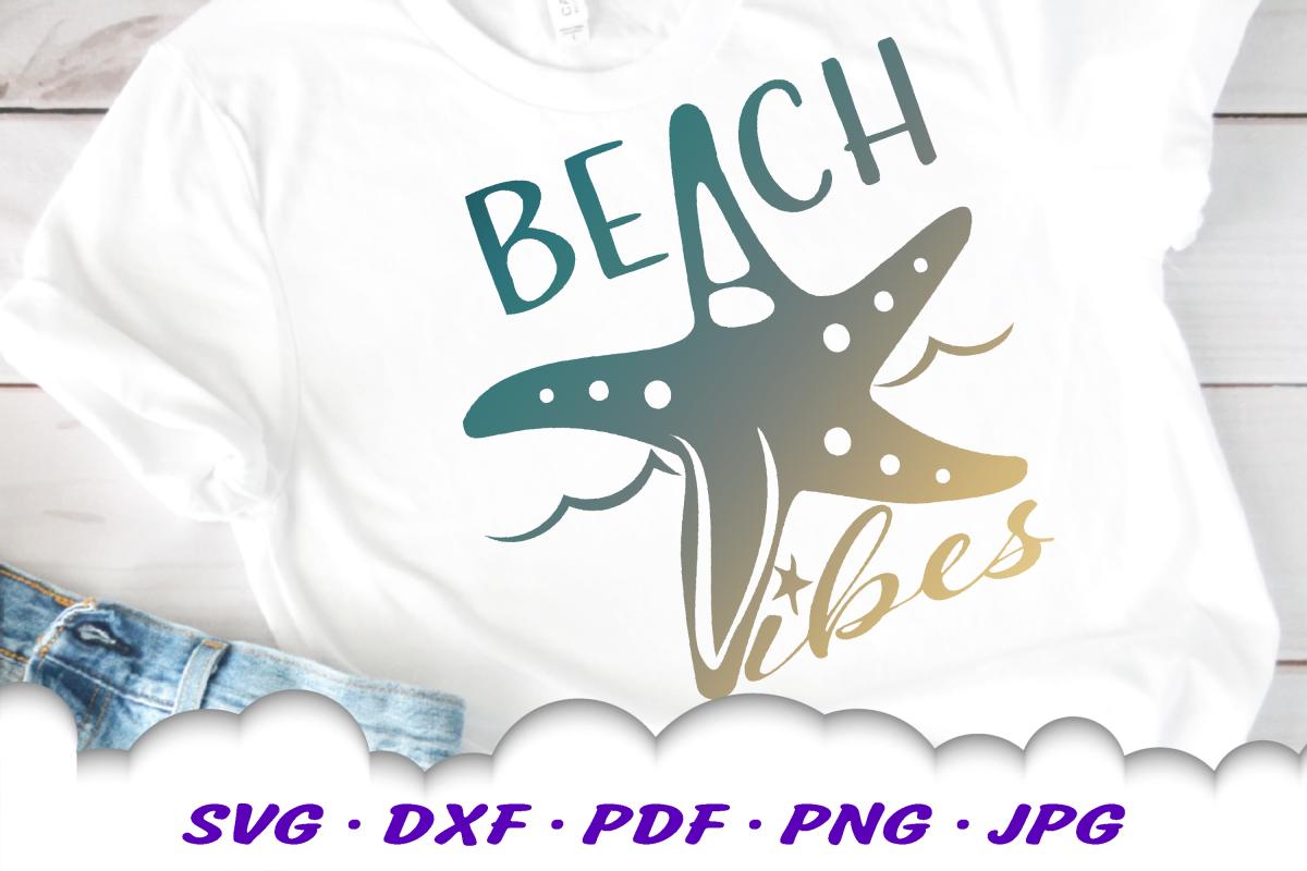 Beach Vibes Starfish SVG DXF Cut Files example image 1