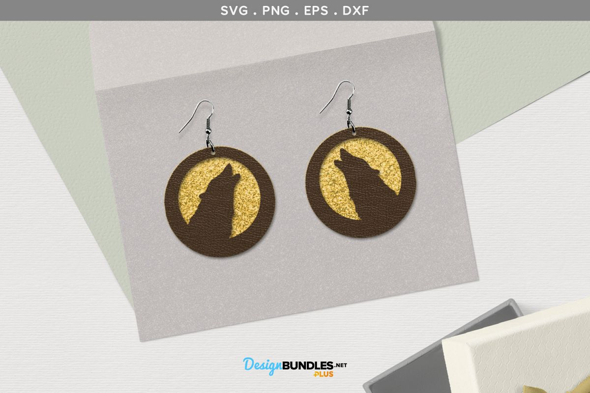 Howling Wolf Earrings SVG example image 1