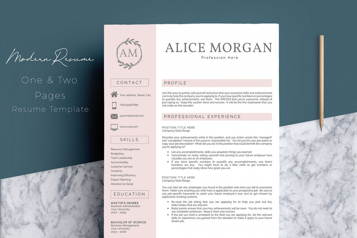 professional creative resume template - alice morgan