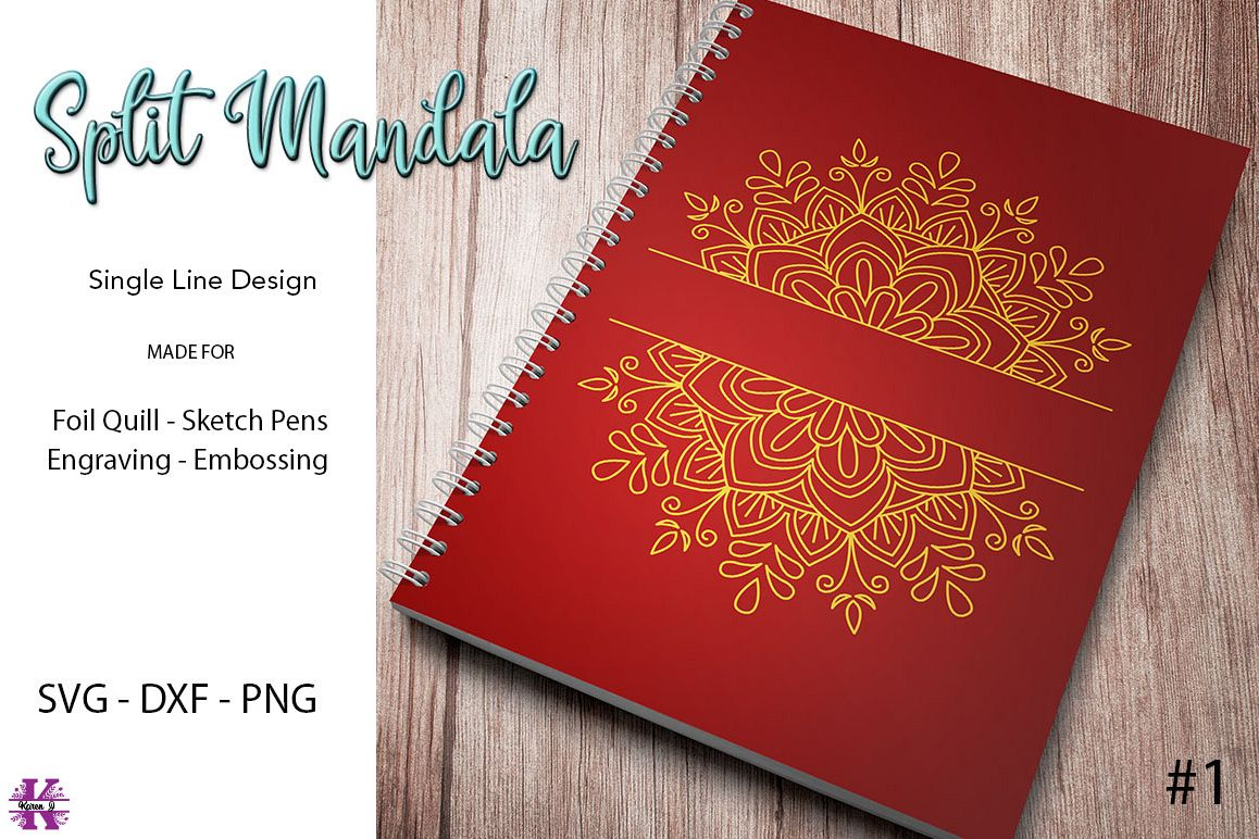 Split Mandala #1 for Foil Quill|Sketch Pen|Engraving example image 1