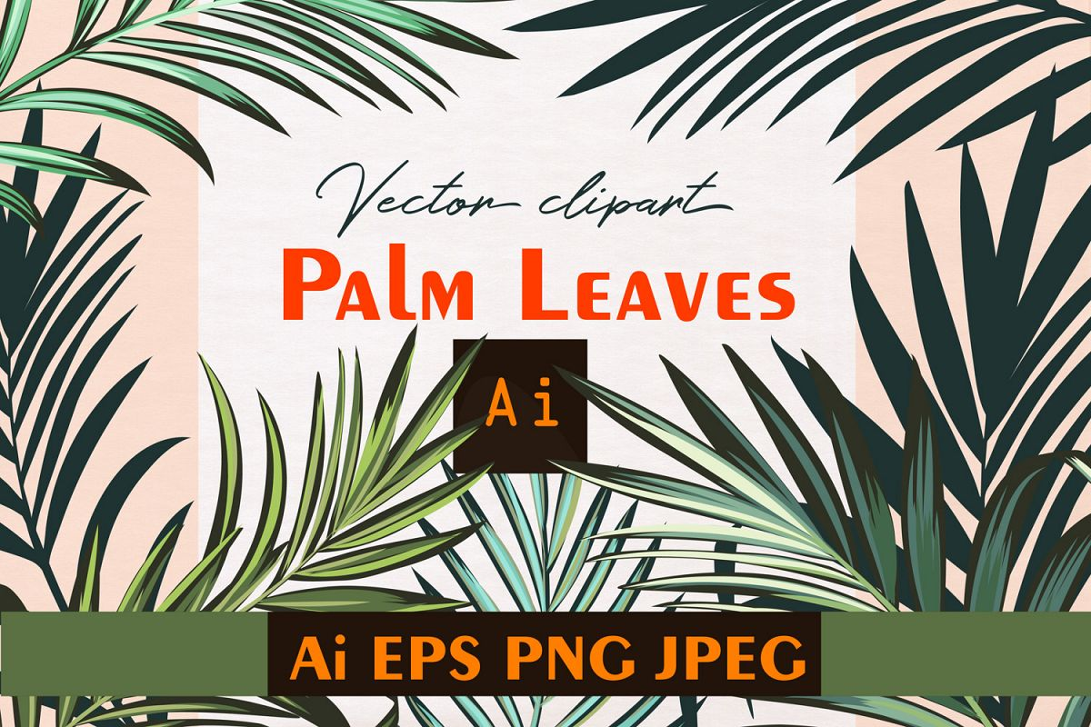 Palm leafs. Vector ClipArt set example image 1