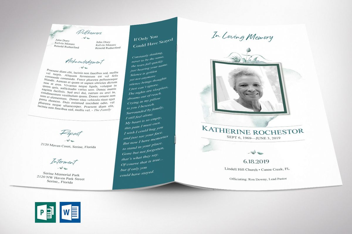 Blossom Funeral Program Word Publisher Template | 8 Pg example image 1