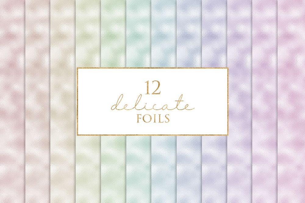 12 Delicate Foils Digital Paper Pack example image 1