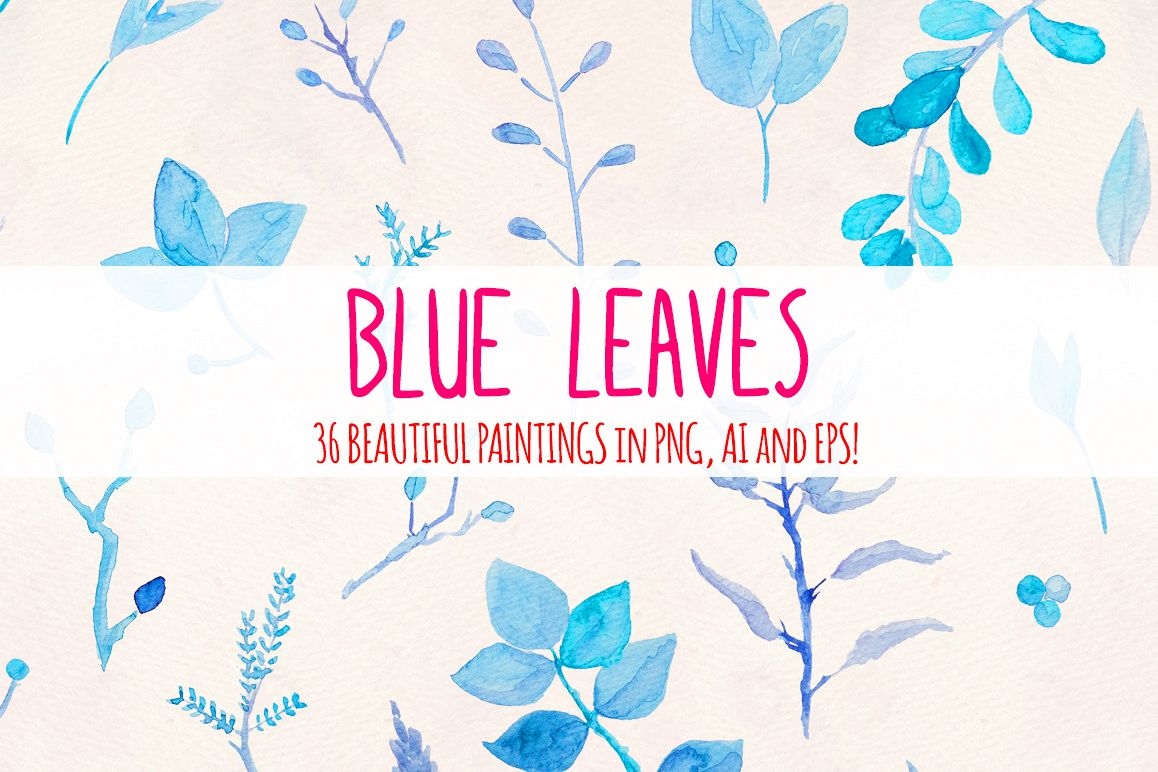 Delicate Blue Leaves 36 Nature Watercolor Paintings example image 1