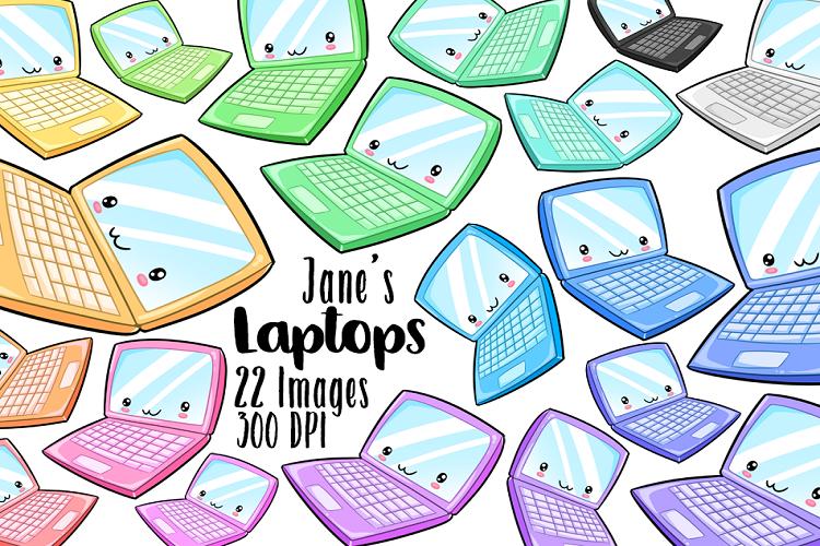 Kawaii Laptop Clipart (126373) | Illustrations | Design ...