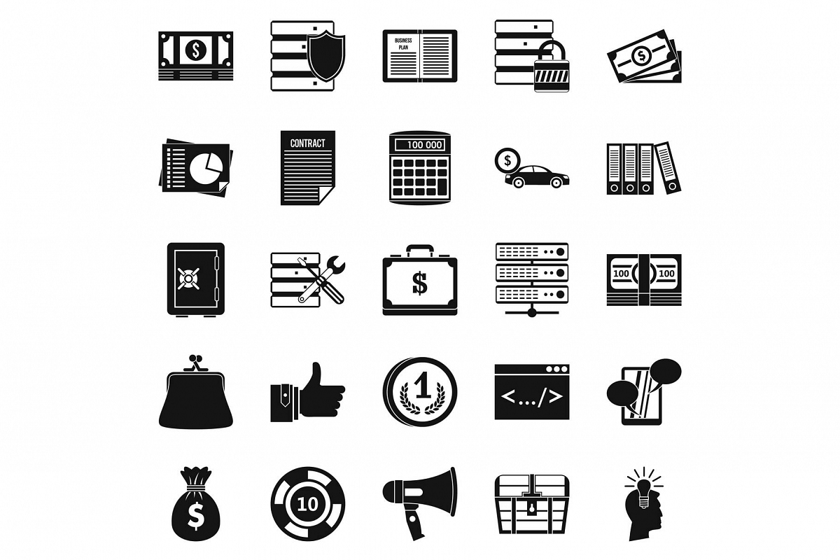 Wildcatter icons set, simple style example image 1