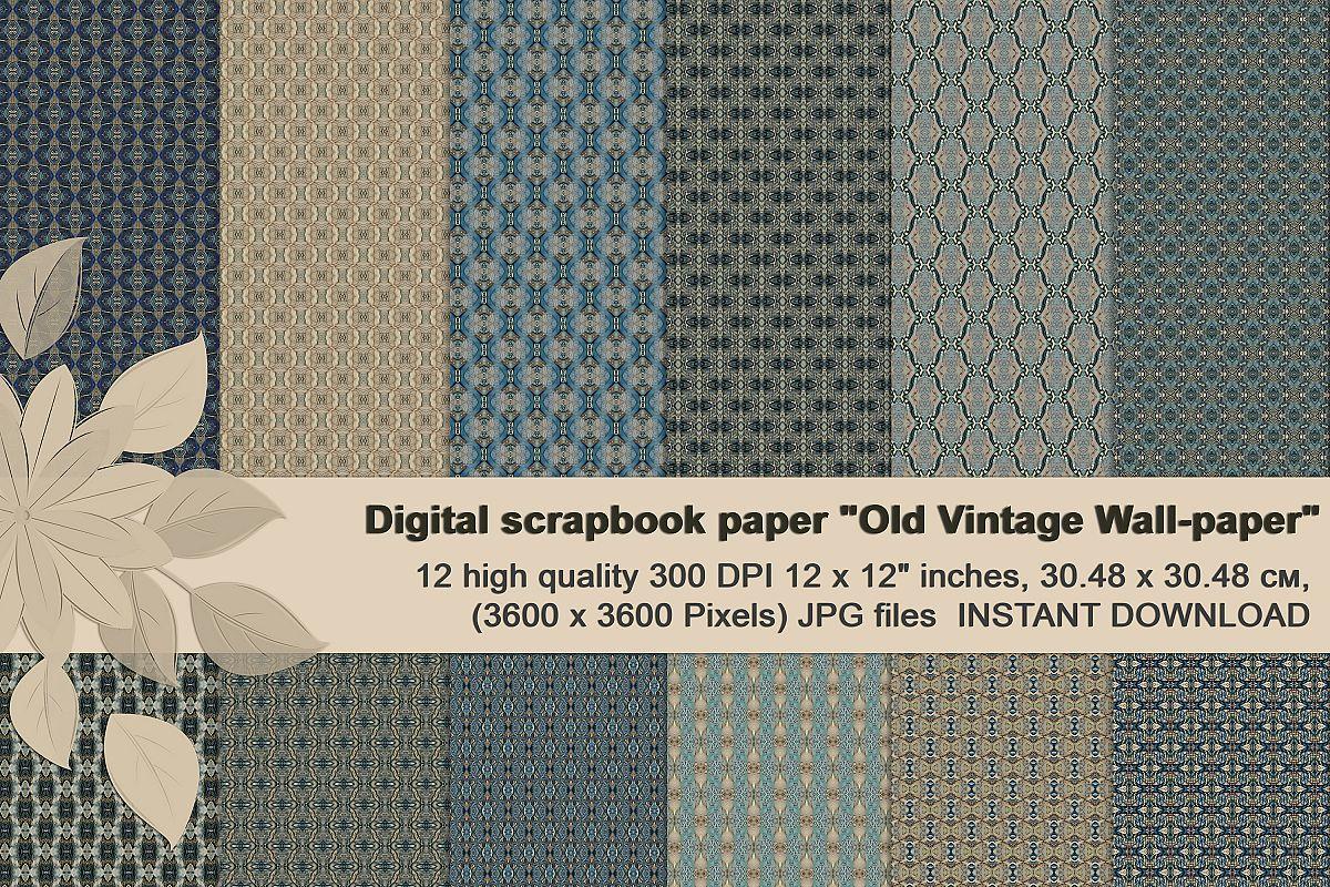 Old vintage blue-beige masculine Scrapbook Paper example image 1