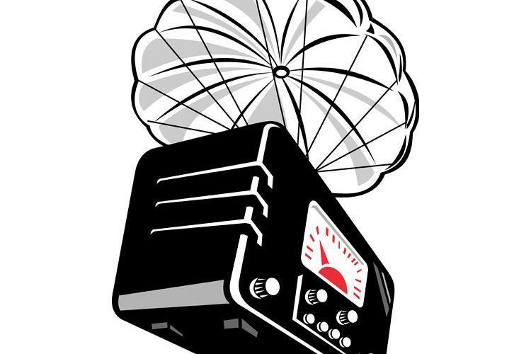vintage radio with parachute example image 1