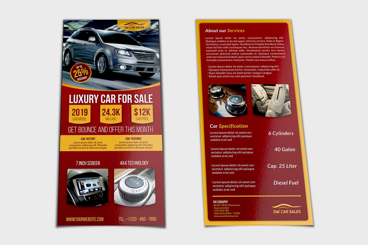 Car for Sale Flyer DL Size Template example image 1