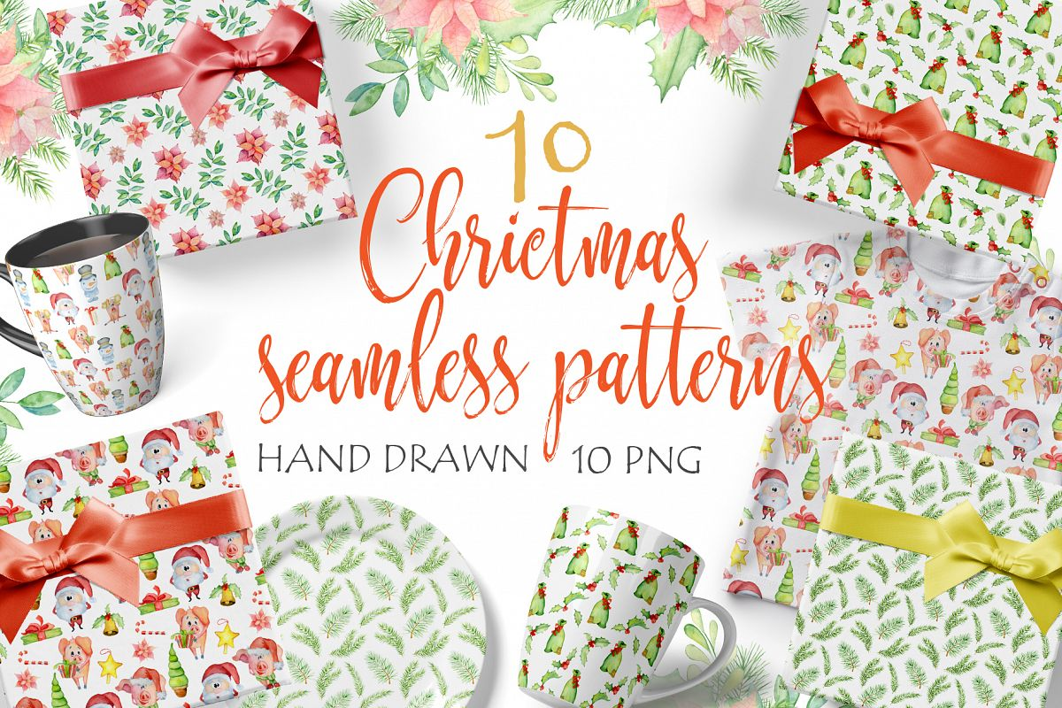 Christmas seamless patterns with pigs example image 1