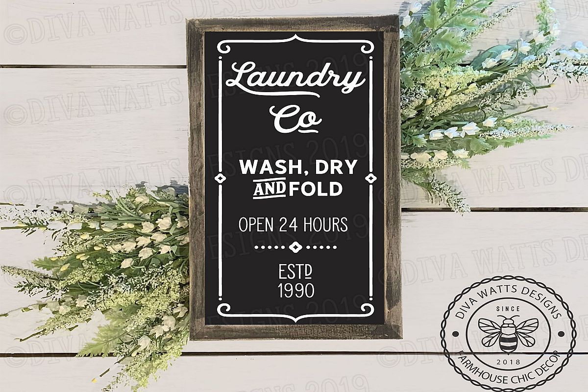 Farmhouse Vertical Laundry Room Cutting File for Sign example image 1