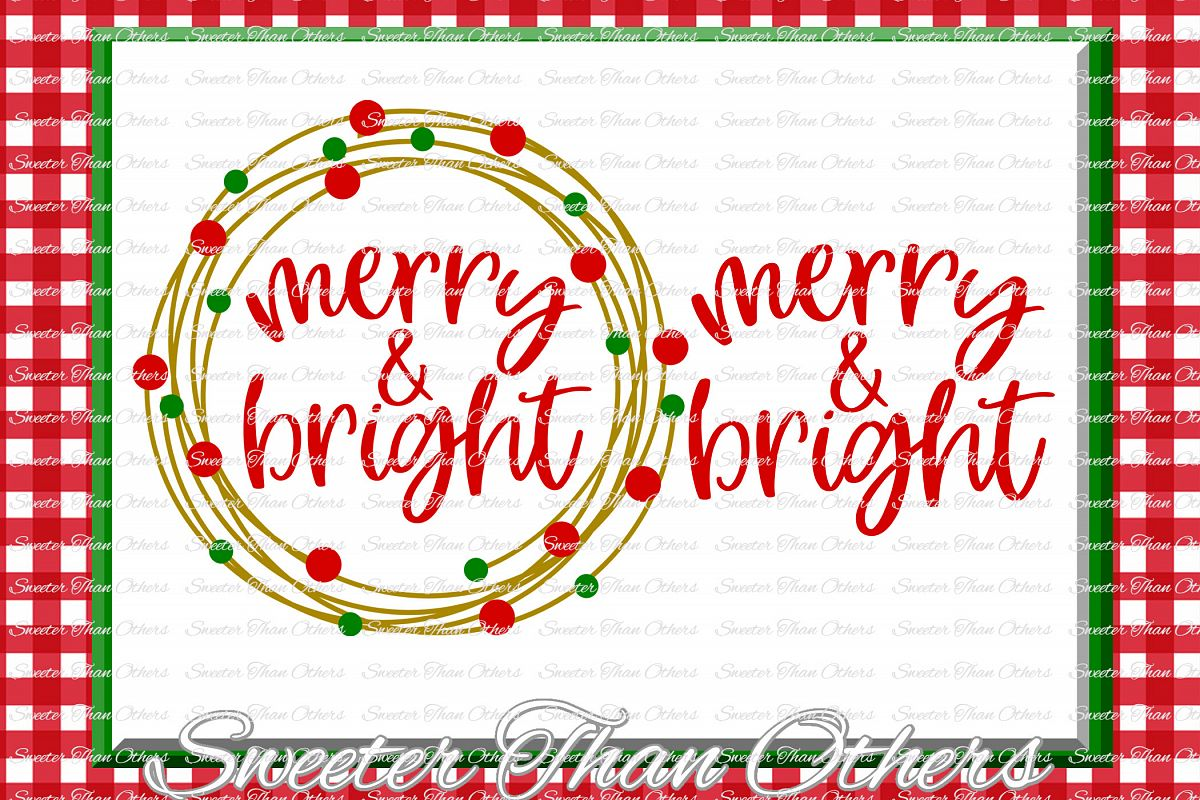Merry and Bright Svg, Christmas svg, Santa svg example image 1