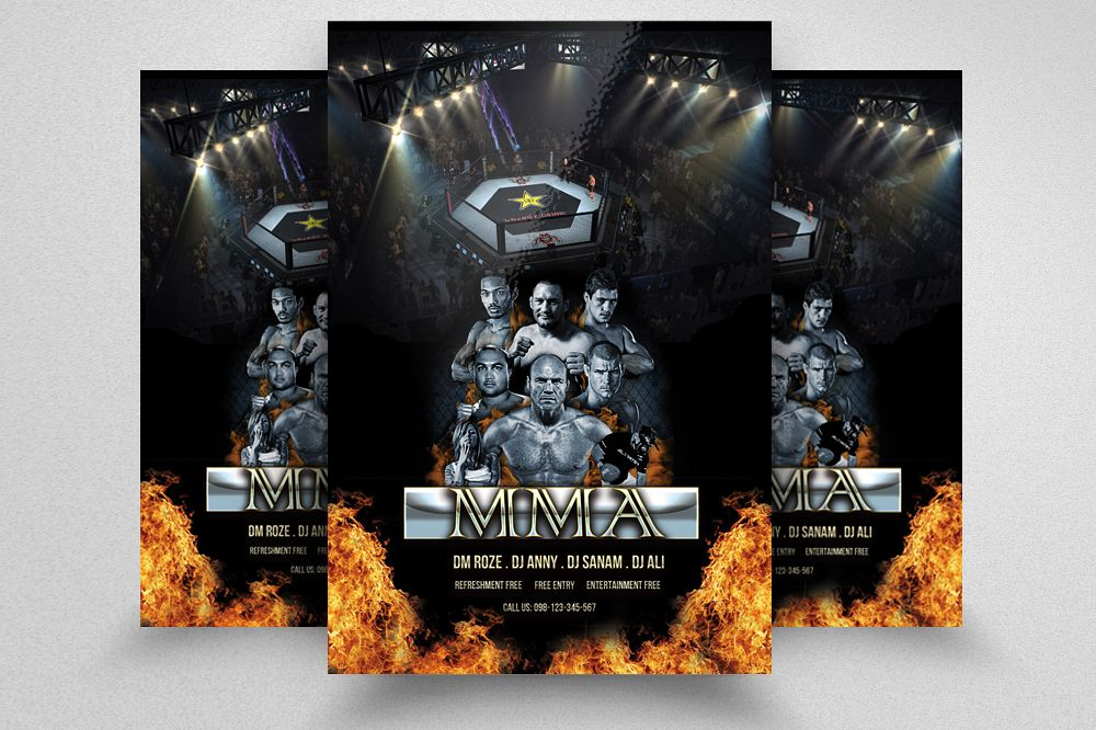 wrestling fight flyer template