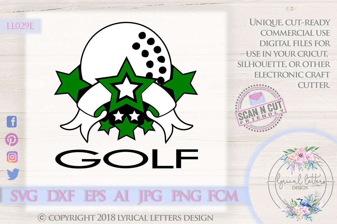 Golf Sports Banner with Stars SVG DXF FCM LL029E example image 1