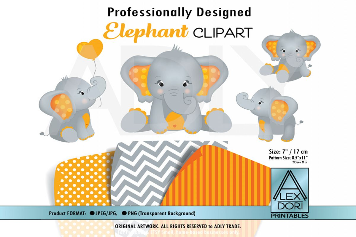 Cute Orange Elephant with Polka Dot Ears with Balloon example image 1