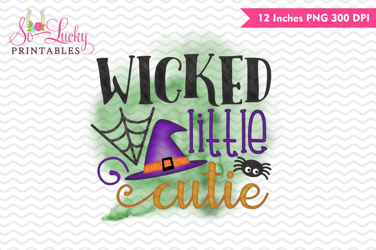 Wicked Little Cutie Halloween watercolor sublimation design example image 1