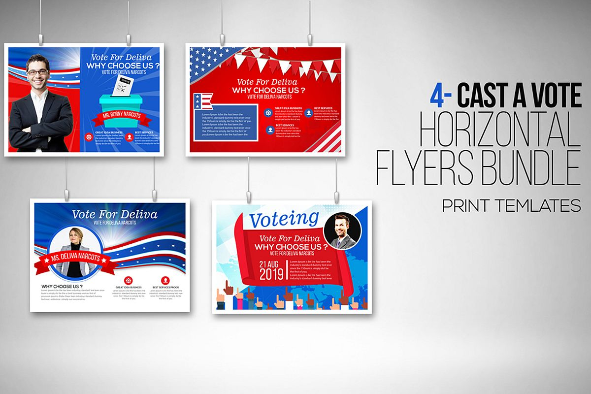4 Horizontal Election Voting Flyers Bundle example image 1
