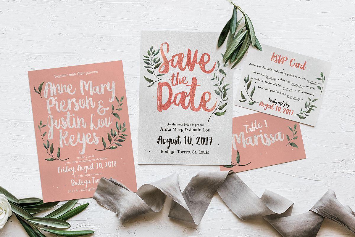rustic pink green wedding invitation suite