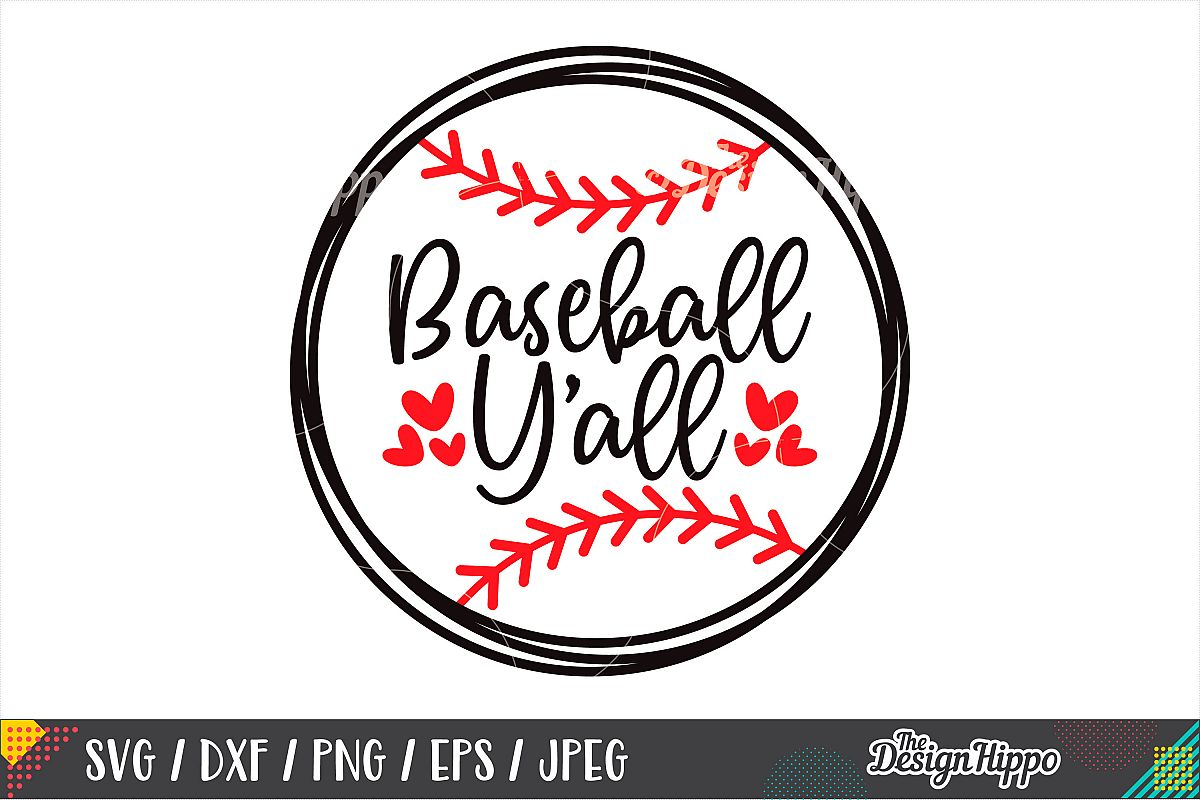 Baseball Y'all SVG, Baseball Stitches SVG, DXF PNG Cut Files example image 1