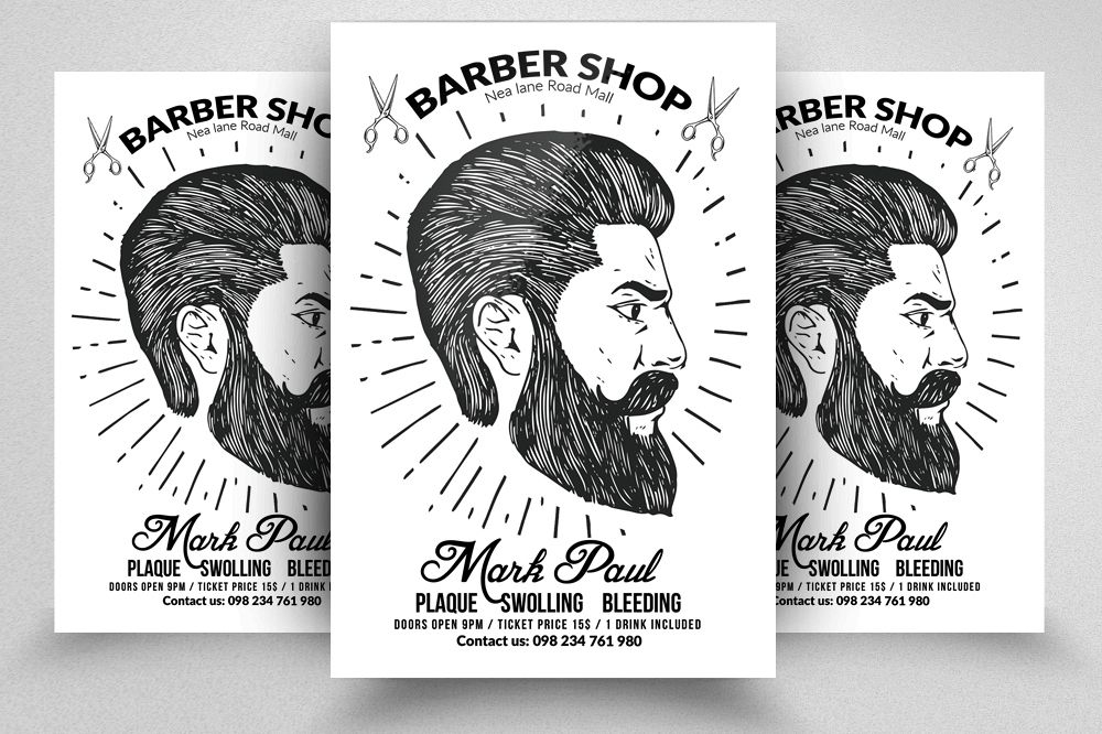 Barber Shop Editable Flyer Templates example image 1