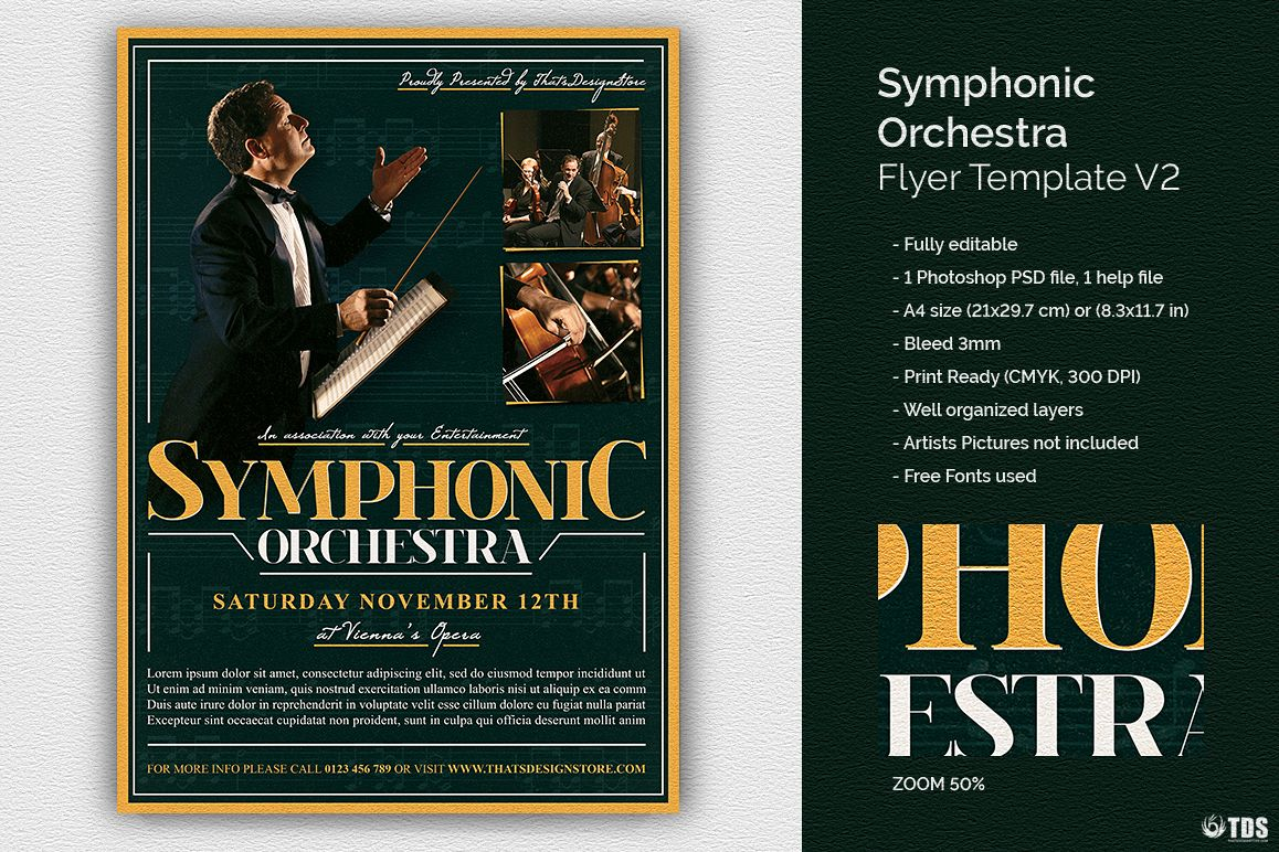 Symphonic Orchestra Flyer Template V2 example image 1