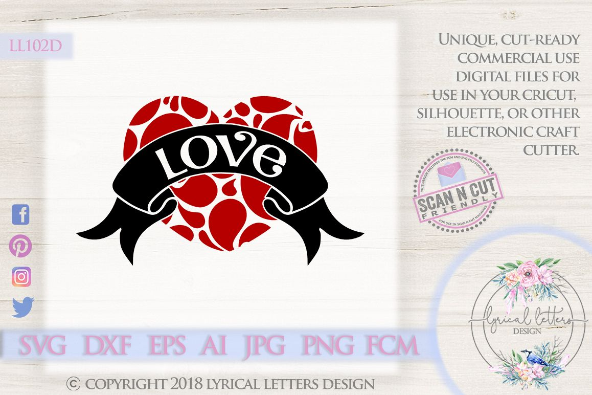 Swirly Heart with Love Valentine's Day SVG DXF LL102D example image 1